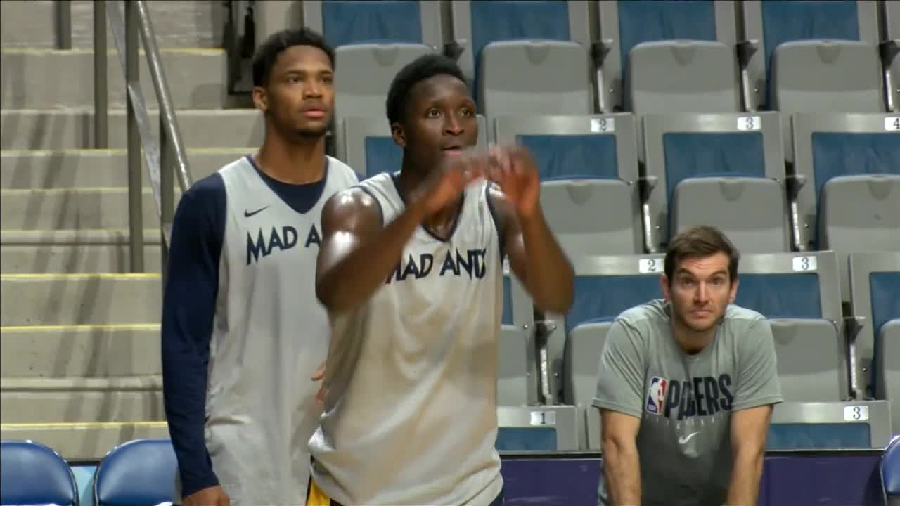 Pacers' Oladipo practices with Mad Ants at Coliseum
