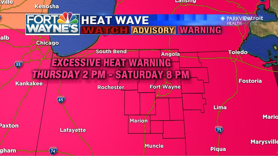 Excessive Heat Warning continues through Saturday evening