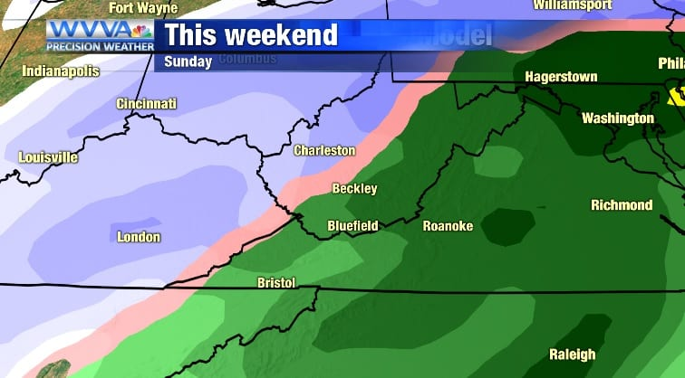 Rain Saturday afternoon, changing to snow into Sunday