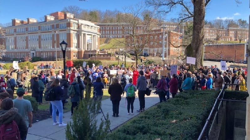 Protest at West Virginia University over campus carry bill