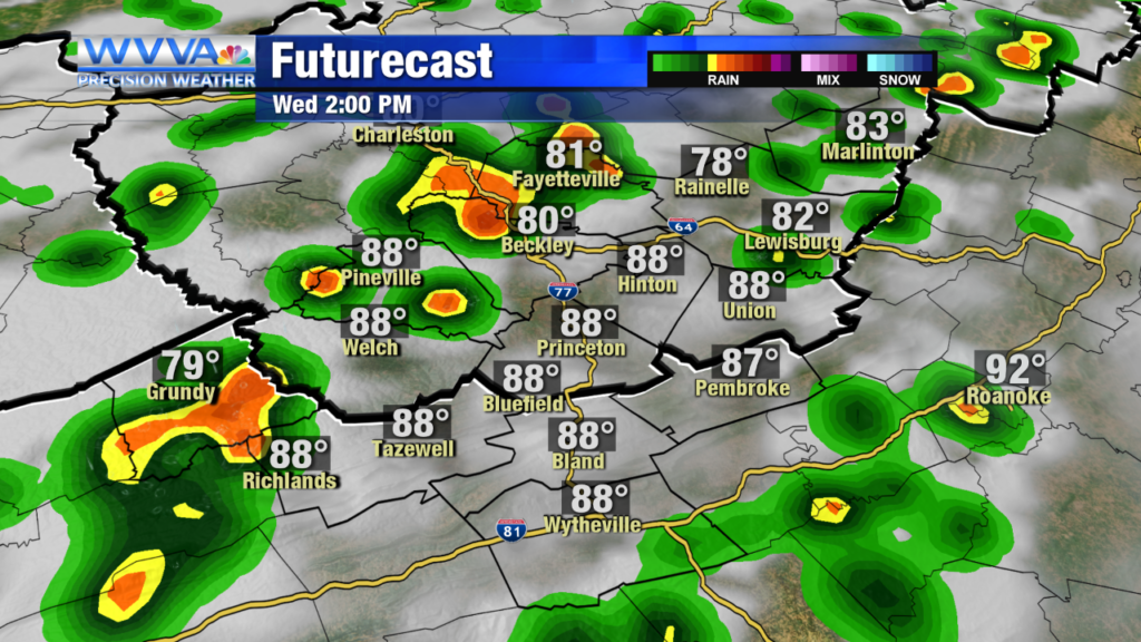 Rain showers & storms look promising today as remnants of Barry come through