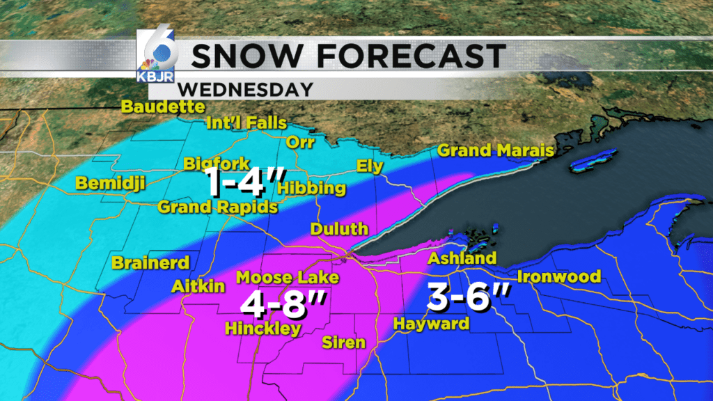 Wednesday's Snow Forecast.