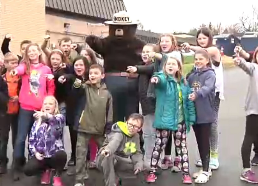 'Smokey the Bear' drops in to Bay View Elementary