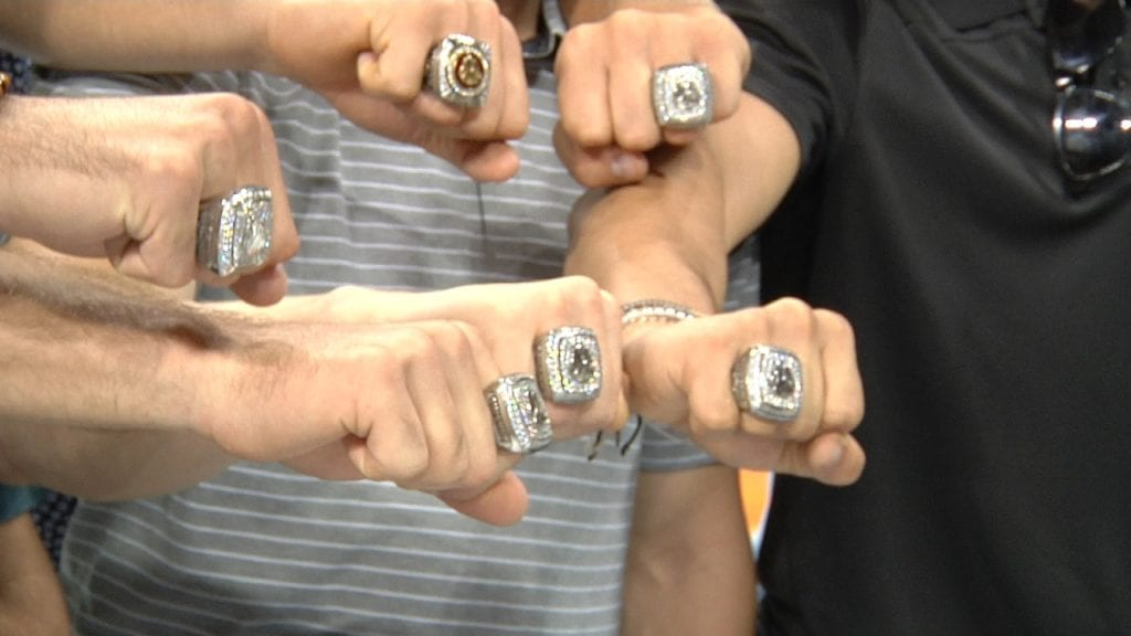 Back-to-back: Bulldogs receive national championship rings
