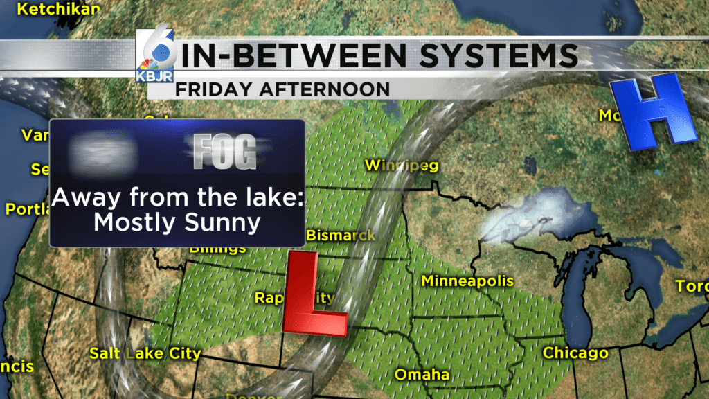 Fog a possibility tonight, and Friday lakeside.