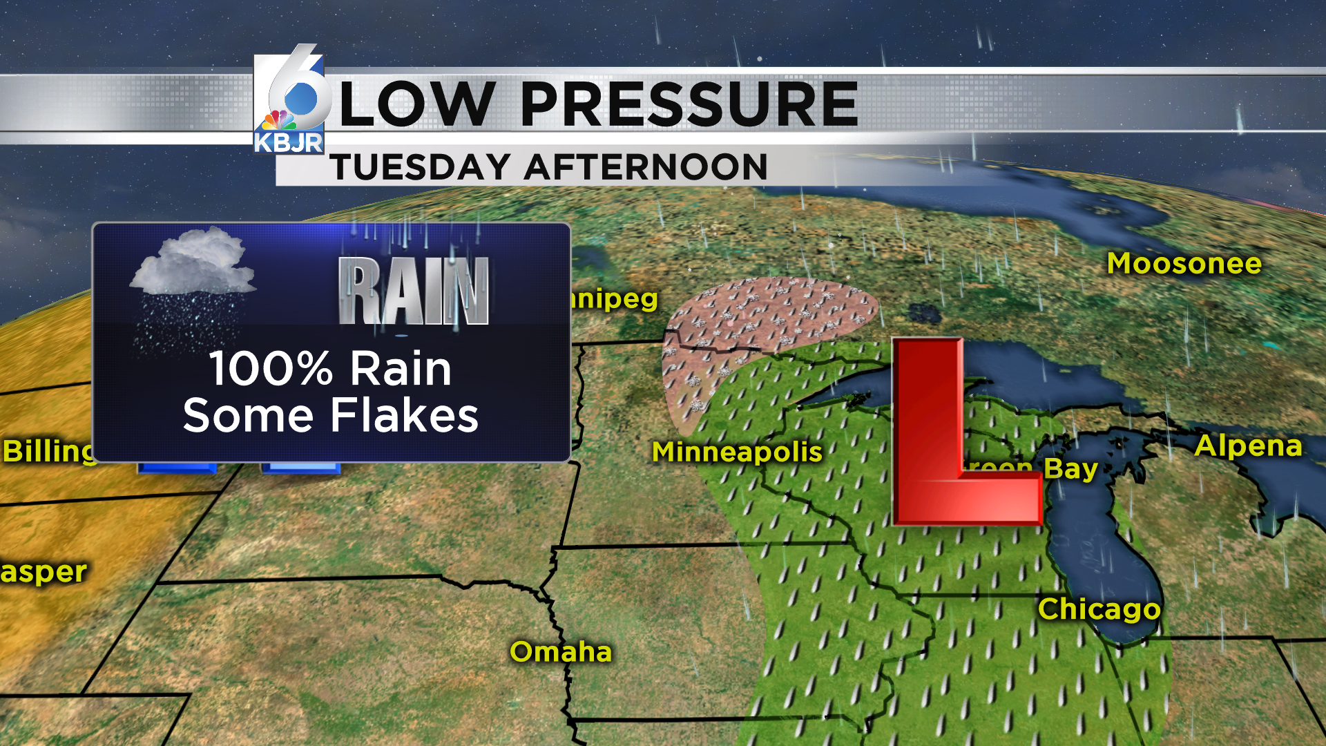 Rain moves in Tuesday.