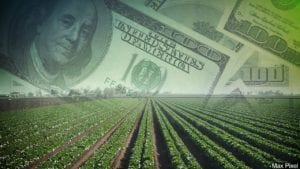 farm field with money graphic