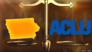 Iowa & ACLU images over justice scale