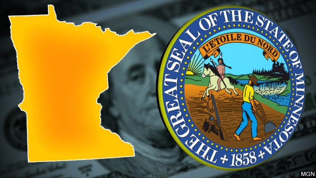 minnesota seal state outline and money graphic