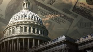 u.s. capitol building with money background