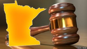 graphic with minnesota state outline and courtroom gavel