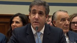 Michael Cohen testifying at a congressional hearing