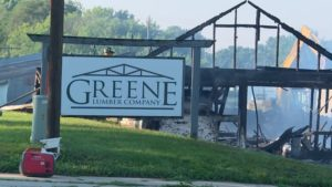 Burnt out Green Lumber Company building