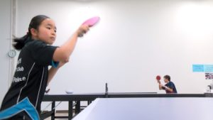 Mandy Yu playing table tennis