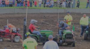 Lawnmowers battle it out at the demolition derby.
