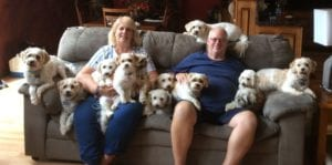 The Hassinger's and their 12 dogs