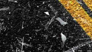 Shattered glass, road graphic - MGN