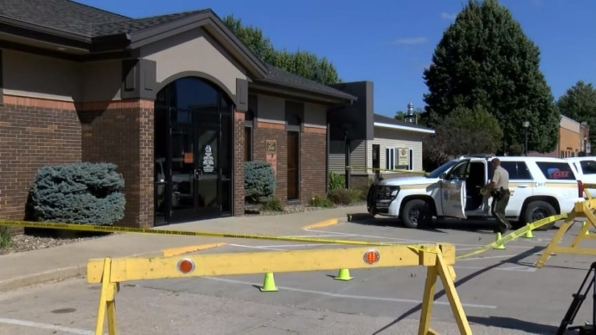 Bank robbery scene in Lime Springs, Iowa