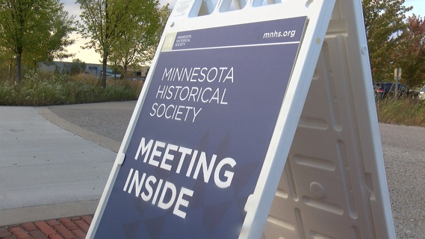 Sign about MN Historical Society meeting in Rochester