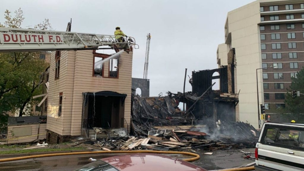 Duluth synagogue fire scene aftermath