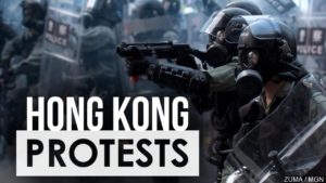 Hong Kong Protest graphic with police in riot gear