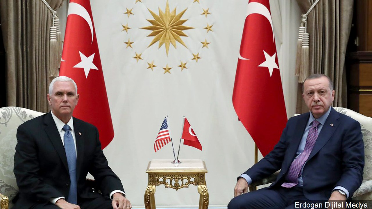 Mike Pence (Vice President of the United States) meets Recep Tayyip Erdogan (President of Turkey) regarding the escalating conflict in Syria