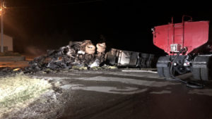 Burned semi truck involved in deadly crash