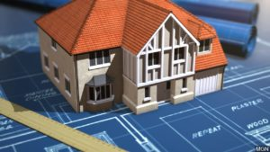 model home and blueprint