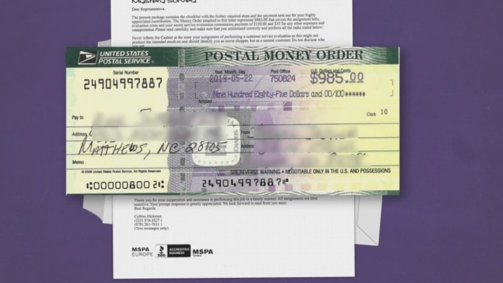 SCAM ALERT: Bogus money orders and cashier's checks are being sent