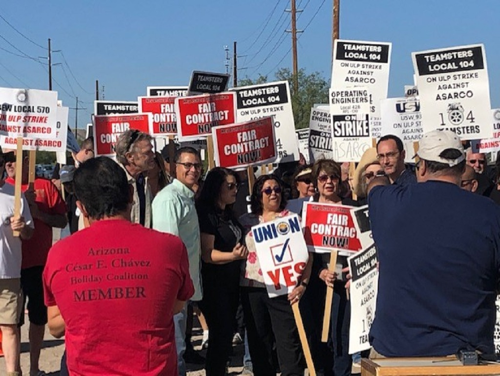 ASARCO employees hold firm on picket line as strike enters second week
