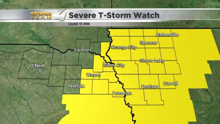 Severe T-Storm Watch issued for much of Siouxland until 11 pm
