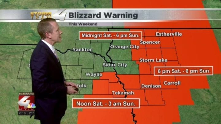 Blizzard Warning for parts of Siouxland this weekend