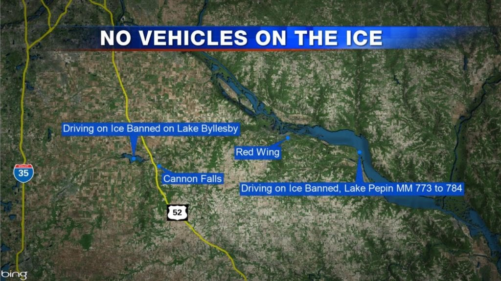 Goodhue Sheriff bans vehicles from driving on ice at some lakes and rivers