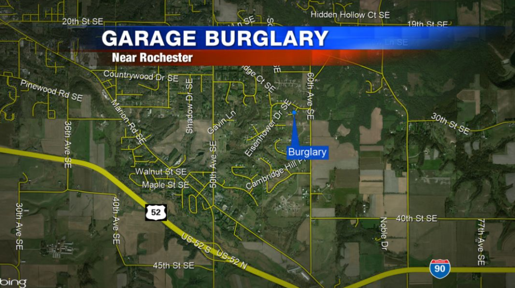 Officials search for suspect involved in a home burglary in SE Rochester