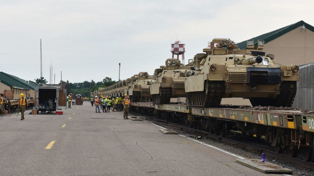 Red Bull Infantry's heavy armor heading from Camp Ripley to Fort Hood