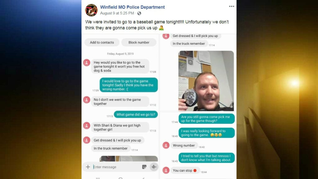 text exchange with police officer