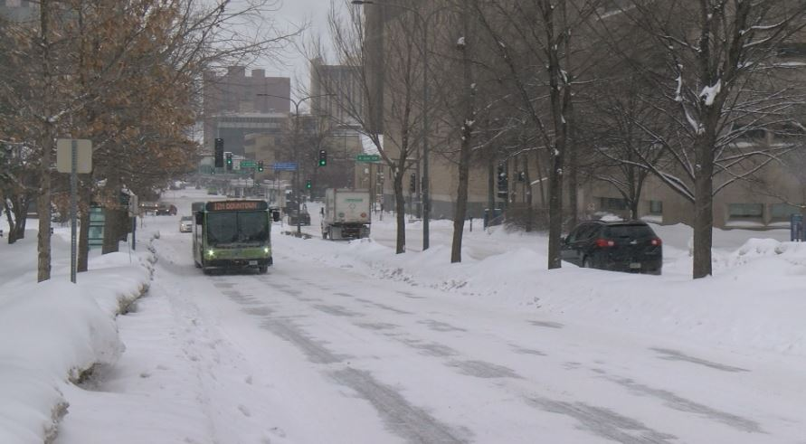 Snowy downtown Rochester.