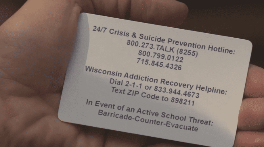 Suicide hotline number placed on Wisconsin student I.D's
