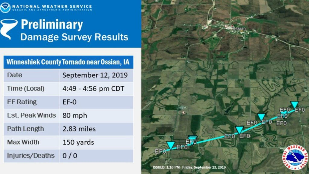 EF-0 tornado confirmed in Winneshiek County
