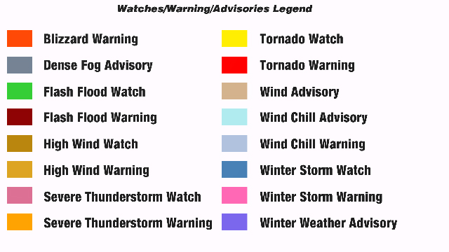 Watches/Warnings/Advisories Legend