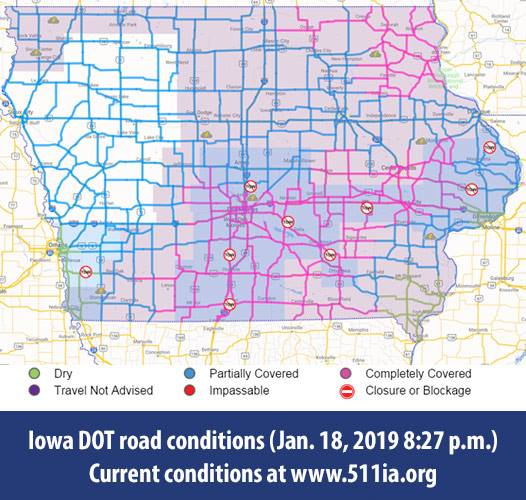 Road Conditions In Iowa Map.Iowa Dot Puts Tow Bans In Place For Many Counties As Snow Continues