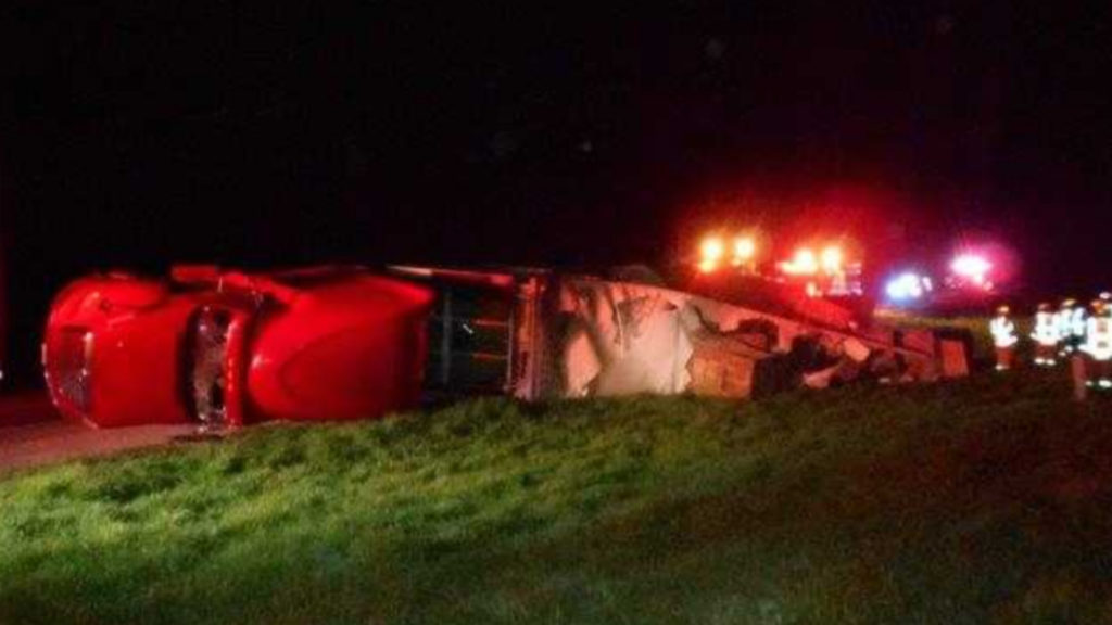 Driver And Passenger Injured After Semi Rollover