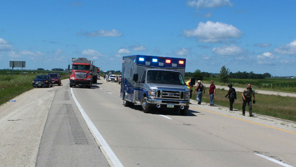 Motorcycle accident on Highway 20 sends one to Wisconsin