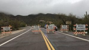 Mt. Lemmon closed due to dangerous road conditions.