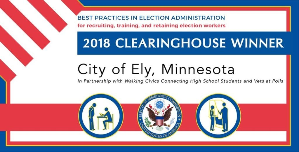 Ely recognized as 2018 Clearinghouse Winner for work in recruiting, training and retaining election workers