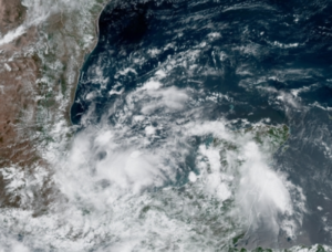 This image of the southwestern Gulf of Mexico taken on Saturday, June 1, 2019, shows a swirl of clouds in the area of concern. (Satellite / NOAA)