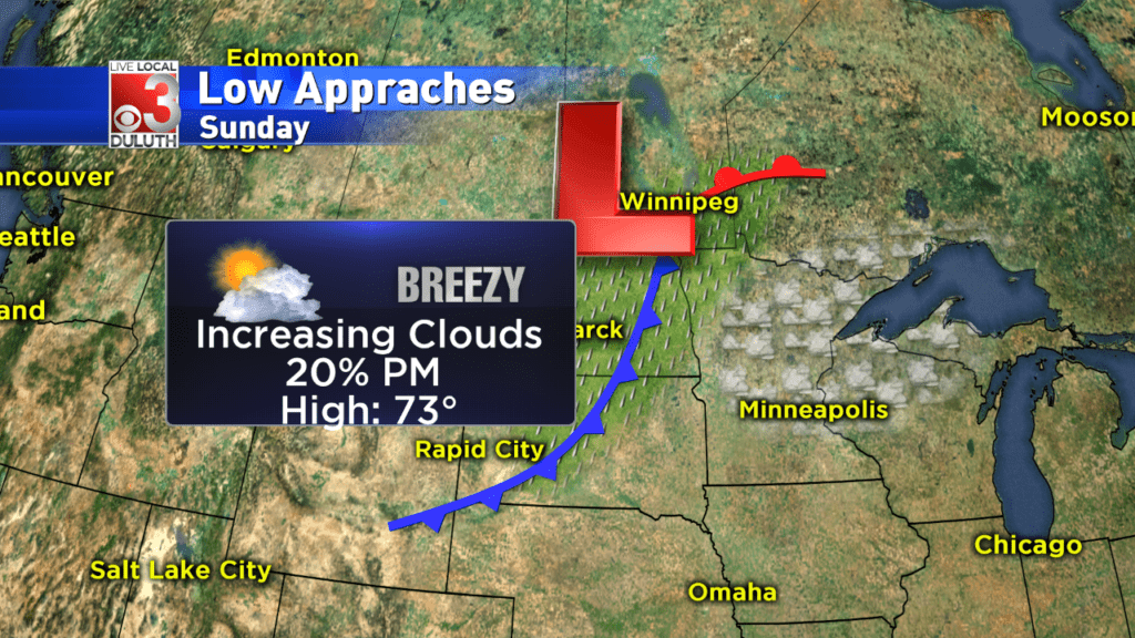 Partly cloudy tonight, slow moving low pressure continues approaching the Northland
