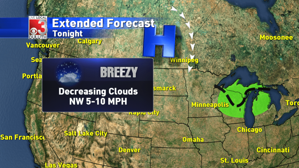 Decreasing clouds into the evening, mostly sunny tomorrow