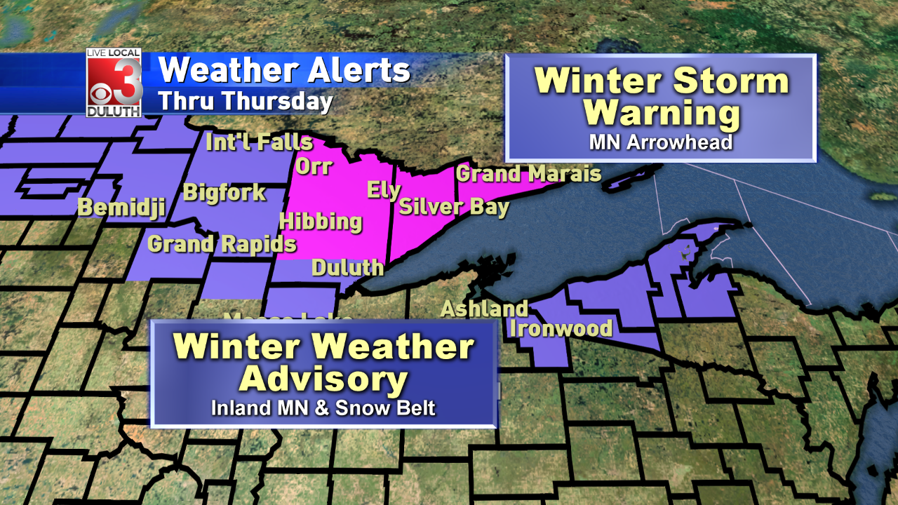 Winter Storm Warnings & Advisories in effect for many towns through Thursday morning