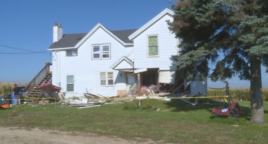 A car crashed into this Cottage Grove home early Sept. 14. WKOW photo